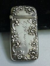 Vintage Sterling Silver Match-Safe / Vesta Case with Flower Design