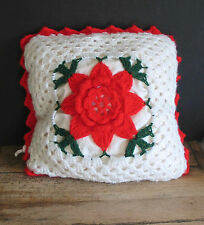 "Hand Made Crochet Red Flower on White Pillow Acrylic Yarn Foam Fill 17"" Free Sh"