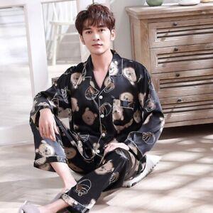 Womens Mens Pajama Set Soft Silk Satin Autumn Sleepwear Lounge Wear Couples Pjs