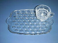 Vintage FEDERAL Clear Glass YORKTOWN 2-piece SNACK SET Plate /Tray & Punch Cup