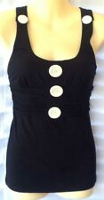 Ladies Sleeveless Top Size 8 Piper Lane Removable Buttons Stretchy Black White