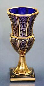Antique art nouveau blue & gold art glass by S. Haertel, Josephinenhütte Bohemia