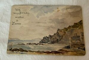 Antique 1886 Miniature Water Color Painting on Card Seascape Aberystwyth Wales
