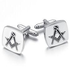 Vintage Square Masonic Cufflinks Men Jewelry Wedding Party Holiday Birthday Gift