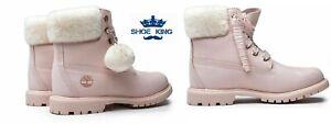 Timberland Women's  6-Inch Premium Shearling A2322 Light Pink NUBUCK Boot