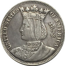 "USA AMERICA * ¼ Dollar ""Isabella Quarter"" 1893 Ag Columbian Expo - RIPRODUZIONE!"