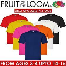 Fruit Of The Loom Boys Girls Kids T Shirts Cotton Plain Short Sleeve Tee Shirt
