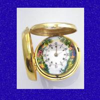 18k Gold  PolyChrome Enamel Half-Hunter Verge Kington Pair Case Fusee Watch 1814