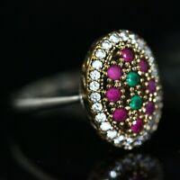 925 Sterling Silver Handmade Gemstone Turkish Emerald Ladies Ring Size 7-12