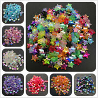 100x Acrylic spacer beads 11x4mm Five-pointed Star Transparent Rainbow Color Vv