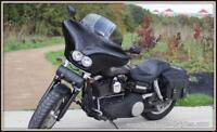 rool bag de fourche en CUIR Tête de Mort SKULL - moto custom harley shadow iron