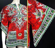 Vintage 1970 s ce Dashiki d'Caftan Mini Robe Haut Tunique Chemise 60 s 70 s ethnique hippie