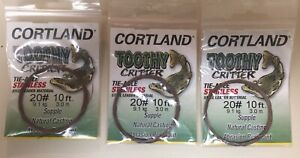 Cortland Toothy Critter Stainless Steel Leader Material #20 lb 10 ft Lot of 3