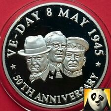 1995 TURKS & CAICOS 20 Crowns VE DAY 1945 50th Anniversary Silver Proof Coin