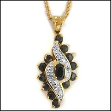 "Real 10 Diamond 17 Black Sapphire Necklace, Gold/Sterling Silver, 18"" Chain"