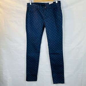 women's Adidas Neo Skinny Jeans Navy blue Pink Spot canvas cotton W30 L32 NWT