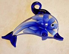 Unique Extra Large Blue Lampwork Dolphin Glass Bead