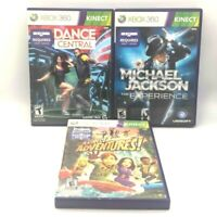 Michael Jackson Experience Dance Central Kinect Adventures Xbox 360 3-Game Lot