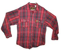 Eddie Bauer Red Black Plaid Men's Sze Large Flannel Button Up Cotton Shirt