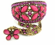 Pink Butterfly Bracelet Slave W Ring Crystal Gold Plated Women NEW