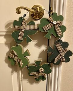 Vintage Wooden Wood St.Patricks Shamrock Wreath Door Wall Decor Green