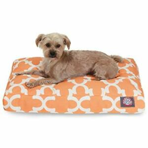 Peach Trellis Small Rectangle Indoor Outdoor Pet Dog Bed With Removable Washa...