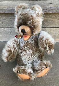 "Vintage HERMANN TEDDY ORIGINAL 10"" Bear Plush Toy Jointed Brown Mohair w/ Tag"