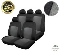 For Nissan Juke Primera Almera 9 Pcs Full Grey Black Fabric Car Seat Covers Set
