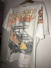 Vtg 90s World of Outlaws All Over Print Racing T-Shirt California Clash Graphic