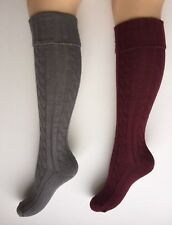 Ladies Cable Knee High Walking,Welly, Boot Socks Size 4-7 2PP GREY & BURGUNDY
