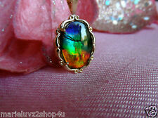 NEW 14k YELLOW GOLD SCALLOPED SET 18x13 STUNNING AMMOLITE PENDANT & GOLD CHAIN !