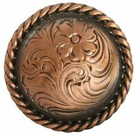 """Western Equestrian Decor Set of 6 Engraved Copper Rope Border 1-1/2"""" Conchos"""