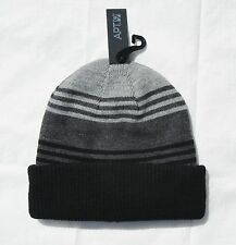 NWT MEN'S ONE SIZE APT. 9 REVERSIBLE GRAY & BLACK STRIPED KNIT BEANIE CAP HAT
