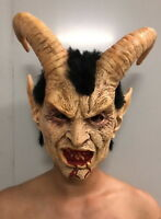 Latex Lucifer Satan Mask Cosplay Scary Masks With Horn Halloween Party Props