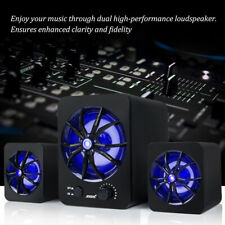 Wired Usb Computer Speakers Stereo Super Bass Sound Colorful Led For Pc Laptop