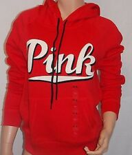 (L) VICTORIA SECRET PINK PULLOVER HOODIE RED SIZE LARGE