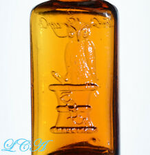 RARE antique AMBER colored OWL DRUG Co bottle w/pic owl on it - HARD to FIND !