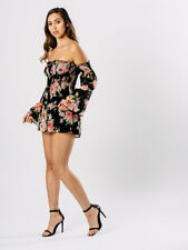 BLACK ROSE PRINT BARDOT PLAYSUIT