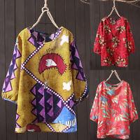 ZANZEA Women Round Neck Ethnic Floral Print Shirt Tops Asymmetrical Loose Blouse
