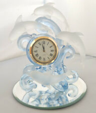 More details for handcrafted glassware - frosted glass dolphin clock ornament. new in box