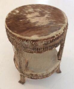 """Vintage Mid Century African """"Tam-Tam"""" Drum Table In Cow-hide"""