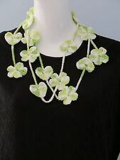 New Handmade Crochet Green Forget Me Not Flower Hearts Scarf Necklace Lariat