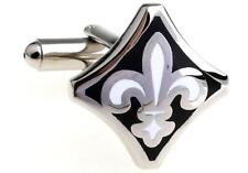 Fleur-de-lys Cufflinks Silver Black Lily Wedding Fancy Gift Box Free Ship USA