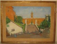 Vintage KURT POLTER 'Capitoline Hill' ROME Italy Mid Century MODERN MCM Painting