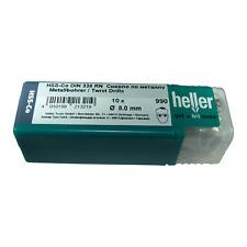 Heller 8mm HSS Cobalt Metal Drill Bits 10 Pack HSS-Co High Quality German Tools