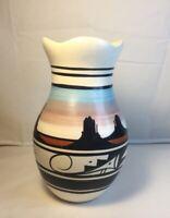 "Cedar Mesa Pottery Vase Native American Navajo Indian Signed 6.5"" x 4"" Lovely"