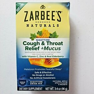 Zarbee's Naturals Cough Throat Relief Nighttime Drink Mix Apple Spice 6 packets