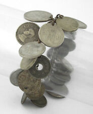 Coin Charm Bracelet w/ 22 Foreign Coins 1940s - Wwii - Vintage Sterling Silver