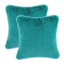 2Pcs CaliTime Cushions Covers Pillows Cases Solid Teal Plush Faux Fur 45 x 45cm