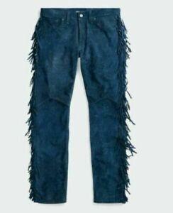 "40"" Men's Native American Blue Buckskin suede leather Jeans style pant fringe"